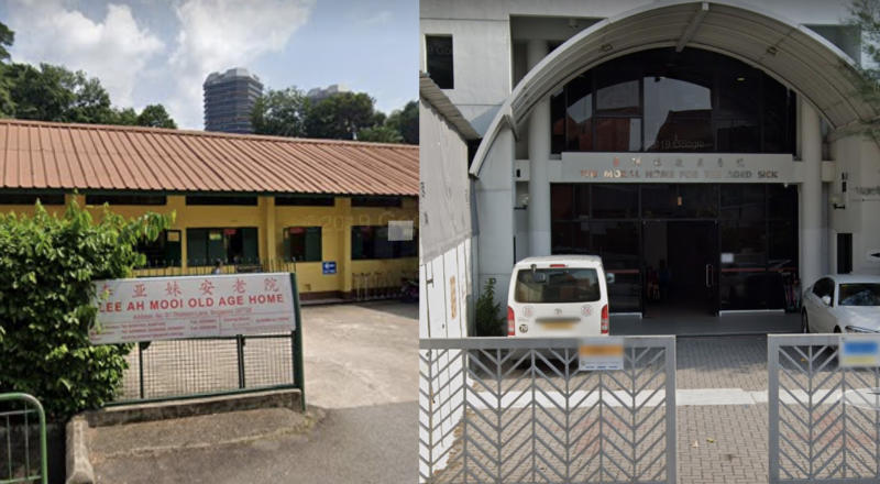 Left to right: Lee Ah Mooi Old Age Home at 1 Thomson Lane (left) and Moral Home for the Aged Sick at 1 Jalan Bilal. (SCREENCAPS: Google Maps)