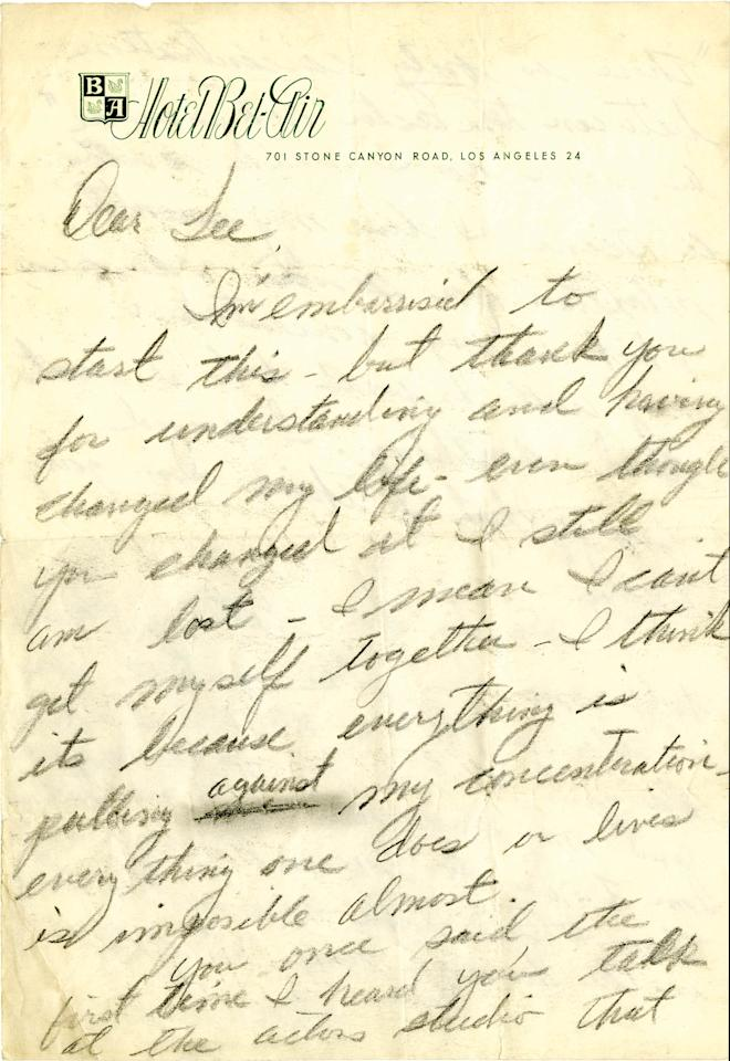 In this undated photo provided by Profile in History, the first page of a handwritten letter from Marilyn Monroe which expresses suicidal thoughts to her mentor, Lee Strasberg, is shown. The letter is among a collection of historical documents to be sold at an online auction by Profiles in History on Wednesday, May 8, 2013. (AP Photo/Profiles in History)