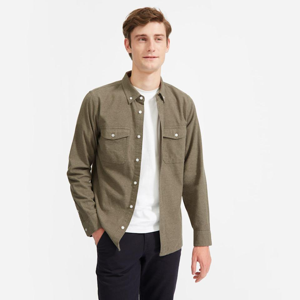 """<p><strong>everlane</strong></p><p>everlane.com</p><p><strong>$75.00</strong></p><p><a href=""""https://go.redirectingat.com?id=74968X1596630&url=https%3A%2F%2Fwww.everlane.com%2Fproducts%2Fmens-modern-flannel-shirt-heathered-thyme&sref=https%3A%2F%2Fwww.thepioneerwoman.com%2Fholidays-celebrations%2Fgifts%2Fg32268043%2Fgifts-for-husbands%2F"""" rel=""""nofollow noopener"""" target=""""_blank"""" data-ylk=""""slk:Shop Now"""" class=""""link rapid-noclick-resp"""">Shop Now</a></p><p>It's a subtle upgrade to his usual flannel wardrobe, and we don't think he'll mind. If anything, he'll be asking you to buy more of these fashion-forward shirts.</p>"""