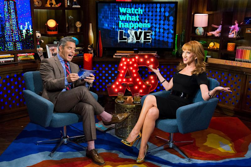 Andy Cohen and Kathy Griffin chatting on his Bravo TV show.
