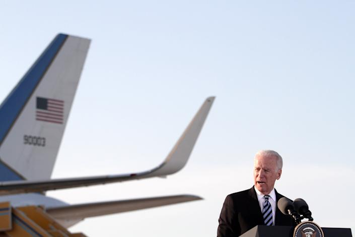 US Vice President Joe Biden delivers a speech after arriving on May 21,2014 at Larnaca airport in the Cypriot southern port city. Biden is on a visit to Cyprus for talks on the divided Mediterranean island's peace process and its ties with Moscow given Russia's role in Ukraine.