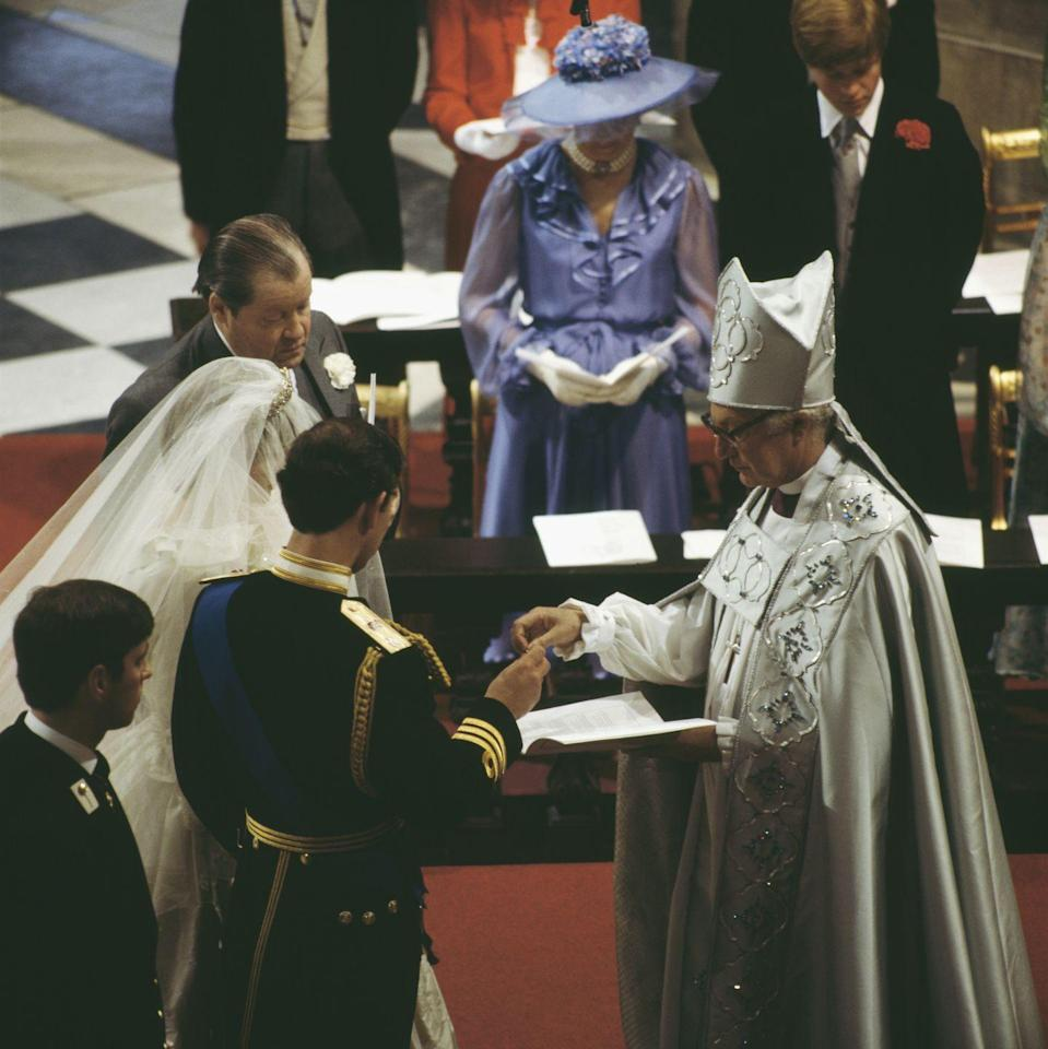 """<p>Diana let her nerves show when she <a href=""""http://www.bbc.co.uk/history/events/prince_charles_and_lady_diana_spencers_wedding"""" rel=""""nofollow noopener"""" target=""""_blank"""" data-ylk=""""slk:accidentally mixed up"""" class=""""link rapid-noclick-resp"""">accidentally mixed up</a> Prince Charles' full name, referring to him as Philip Charles Arthur George rather than Charles Philip Arthur George.</p>"""