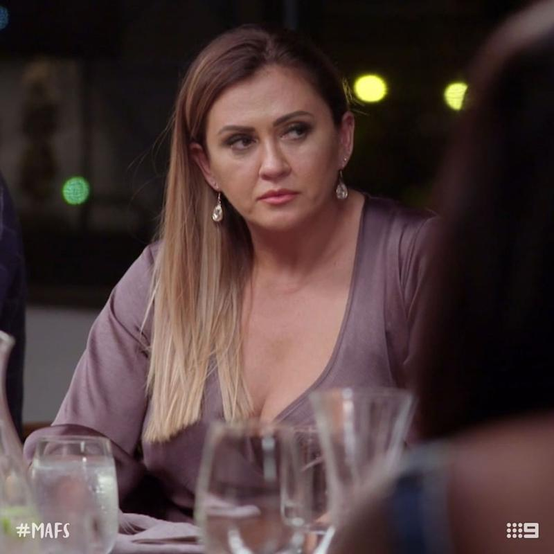 Married At First Sight star Mishel Karen at one of the show's scandalous dinner parties. Photo: Channel Nine