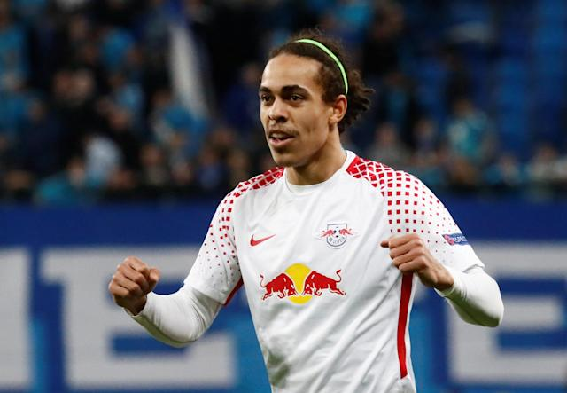 Soccer Football - Europa League Round of 16 Second Leg - Zenit Saint Petersburg vs RB Leipzig - Stadium St. Petersburg, Saint Petersburg, Russia - March 15, 2018 RB Leipzig's Yussuf Poulsen celebrates after the match REUTERS/Maxim Shemetov