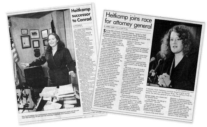 Newspaper clippings featuring Heidi Heitkamp from 1986 and 1992 issues of the Bismark Tribune.