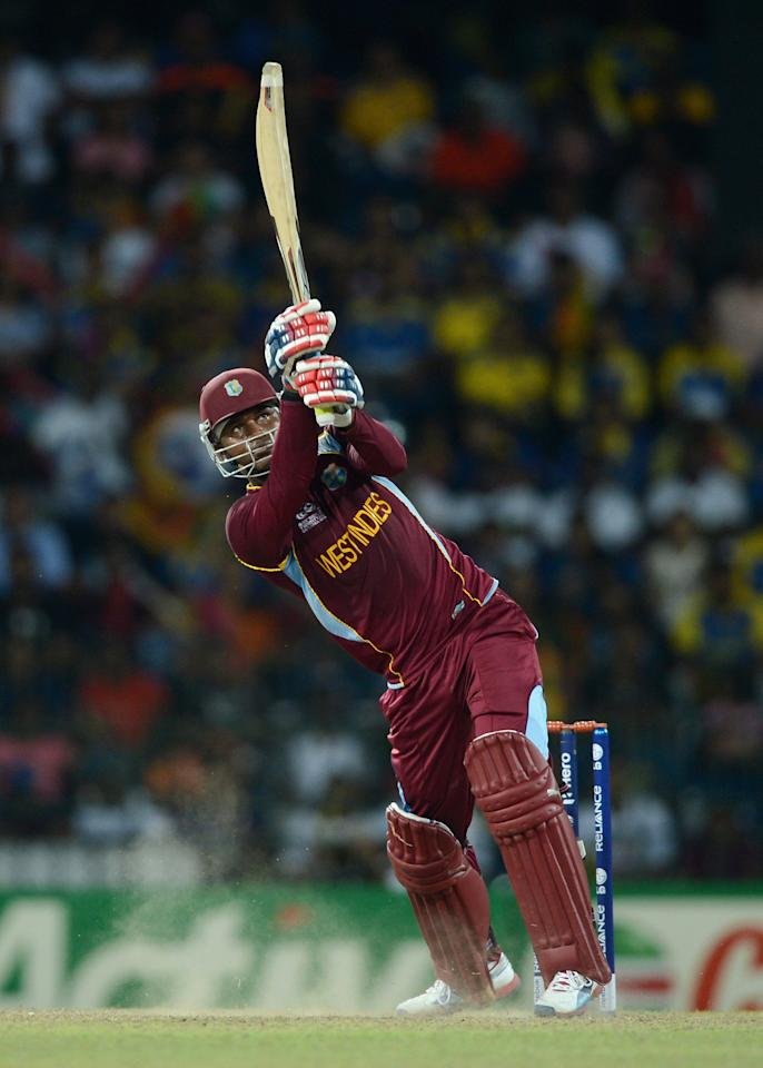 COLOMBO, SRI LANKA - OCTOBER 07:  Marlon Samuels of the West Indies bats during the ICC World Twenty20 2012 Final between Sri Lanka and the West Indies at R. Premadasa Stadium on October 7, 2012 in Colombo, Sri Lanka.  (Photo by Gareth Copley/Getty Images)