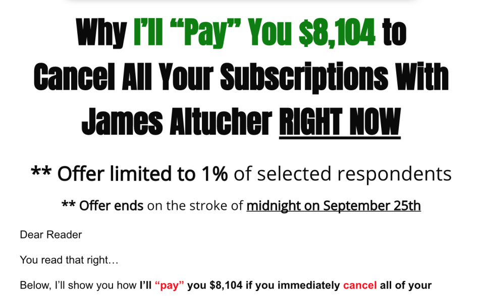 """This is a pitch from Agora Financial's Doug Hill. The """"Pay"""" is a sales tactic to get people to pay $4,995 for a new suite of Altucher products. (Screenshot: Yahoo Finance.)"""