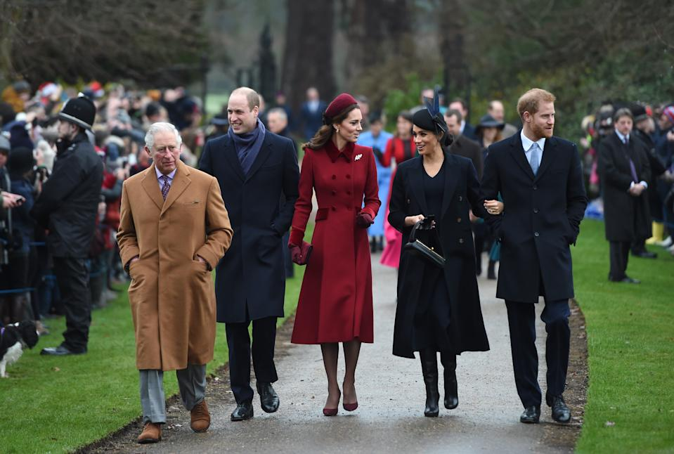 The Prince of Wales, the Duke of Cambridge, the Duchess of Cambridge, the Duchess of Sussex and the Duke of Sussex arriving to attend the Christmas Day morning church service at St Mary Magdalene Church in Sandringham, Norfolk. (Photo by Joe Giddens/PA Images via Getty Images)