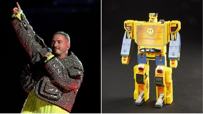 J Balvin (Kevin Winter/Getty Images for Global Citizen VAX LIVE), J Balvintron (Hasbro)