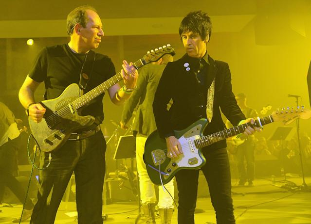 """Hans Zimmer and Johnny Marr perform during the """"The Amazing Spider-Man 2"""" New York Premiere at Skylight, 2014. (Photo by Theo Wargo/WireImage)"""