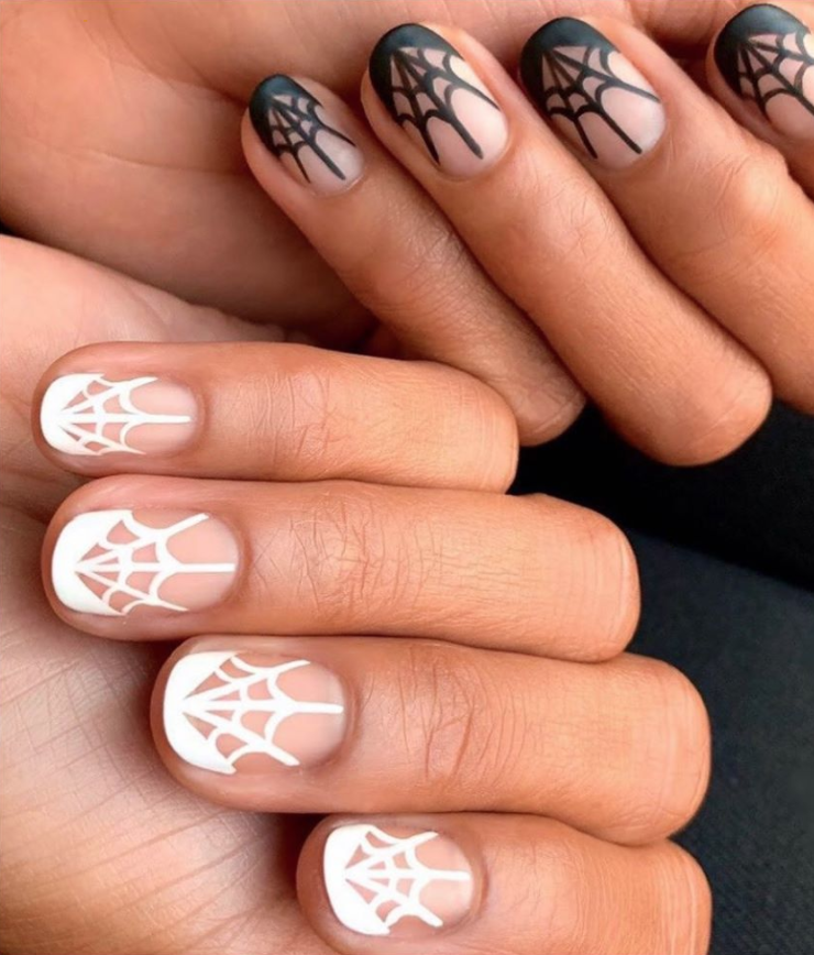 """<p>Halloween, but make it chic. These <a href=""""https://www.instagram.com/p/B4Krsv8AYsu/"""" rel=""""nofollow noopener"""" target=""""_blank"""" data-ylk=""""slk:cute, easy spiderwebs by editorial manicurist Rita Remark"""" class=""""link rapid-noclick-resp"""">cute, easy spiderwebs by editorial manicurist Rita Remark</a> are perfect for those who want to celebrate, but would prefer to keep things simple.</p><p><a class=""""link rapid-noclick-resp"""" href=""""https://go.redirectingat.com?id=74968X1596630&url=https%3A%2F%2Fwww.etsy.com%2Flisting%2F476728659%2Fspider-web-stencils-for-nails-halloween%3Fref%3Drelated-4&sref=https%3A%2F%2Fwww.oprahdaily.com%2Fbeauty%2Fskin-makeup%2Fg33239588%2Fhalloween-nail-ideas%2F"""" rel=""""nofollow noopener"""" target=""""_blank"""" data-ylk=""""slk:SHOP STENCIL"""">SHOP STENCIL</a></p>"""