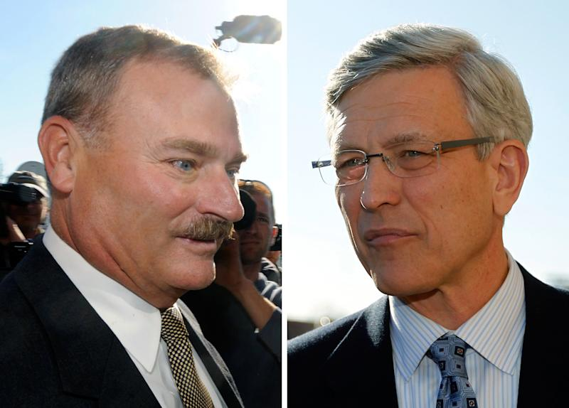 FILE - In these Nov. 7, 2011 file photos, former Penn State vice president Gary Schultz, left, and former athletic director Tim Curley, right, enter a district judge's office for an arraignment in Harrisburg, Pa., for their actions related to the sex abuse scandal surrounding former Penn State assistant football coach Jerry Sandusky. The criminal case can move forward against the former Penn State administrators accused of covering up reports that Jerry Sandusky was behaving improperly with children, Judge Barry Feudale ruled Tuesday, April 9, 2013. (AP Photo/Brad Bower, left, Matt Rourke, right, File)