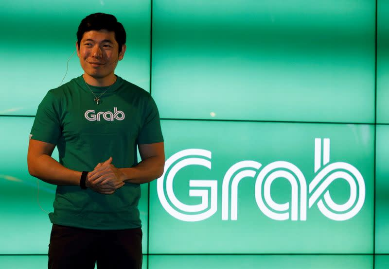 FILE PHOTO: Grab's CEO Anthony Tan speaks during Grab's fifth anniversary news conference in Singapore