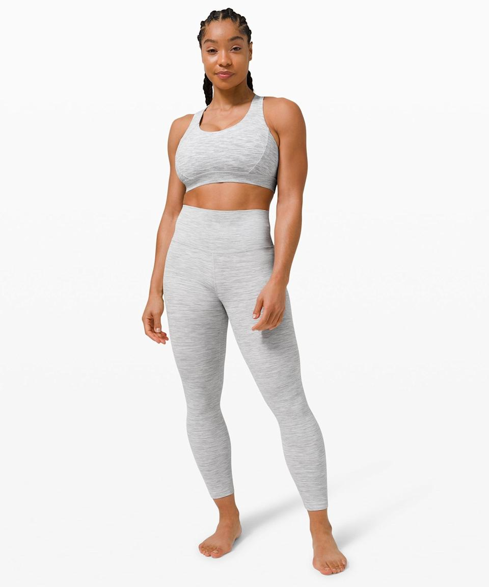 <p>This light gray <span>Lululemon Free To Be Elevated Bra Light Support, DD/E Cup</span> ($52) and <span>Wunder Under High-Rise Tight</span> ($98) is a classic Lululemon combo, and you'll be in love with it.</p>