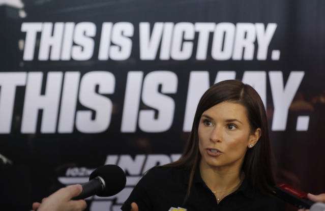 Danica Patrick speaks during a media availability for the IndyCar Indianapolis 500 auto race at Indianapolis Motor Speedway, in Indianapolis Thursday, May 24, 2018. (AP Photo/Darron Cummings)