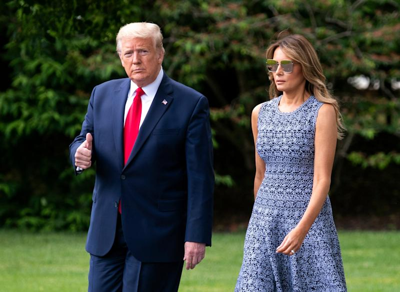 Donald Trump and first lady Melania Trump leave the White House to travel to the Kennedy Space Center in Florida: EPA
