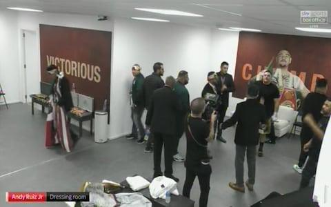 Andy Ruiz Jr in the dressing room - Credit: Sky Sports PPV