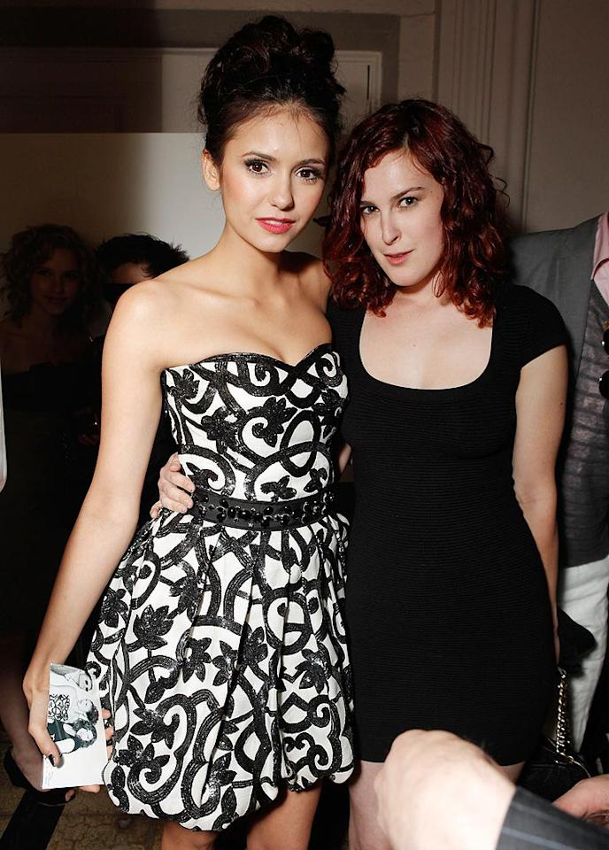 """""""The Vampire Diaries'"""" Nina Dobrev, who chatted up Rumer Willis, was doubly lucky at the ceremony. She nabbed a solo award for the young Hollywood star making a mark in the industry, and shared one for Cast to Watch with her co-stars Paul Wesley and Ian Somerhalder. Todd Williamson/<a href=""""http://www.wireimage.com"""" target=""""new"""">WireImage.com</a> - May 13, 2010"""