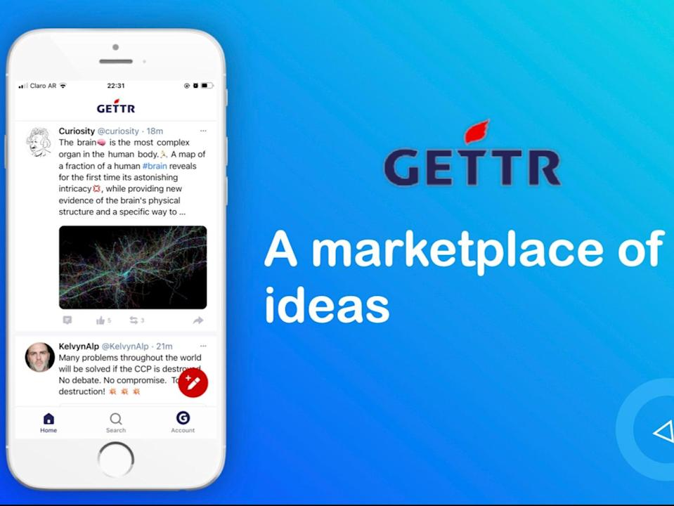 The newly launched social media website, Gettr, is billed on app stores as a 'non-bias social network for people all over the world' (Gettr)