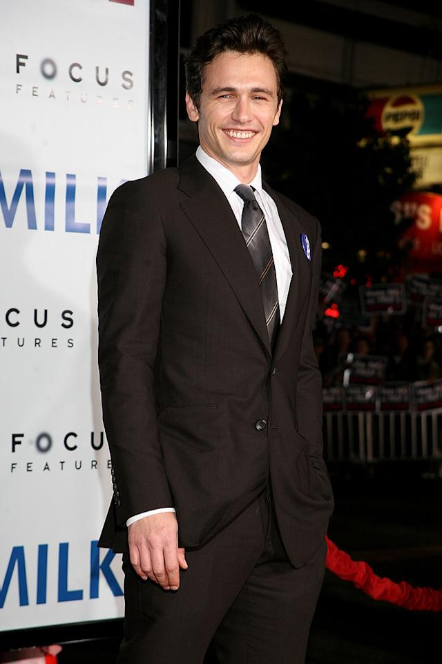 """<a href=""""http://movies.yahoo.com/movie/contributor/1800352352"""">James Franco</a> at the San Francisco premiere of <a href=""""http://movies.yahoo.com/movie/1810041985/info"""">Milk</a> - 10/28/2008"""