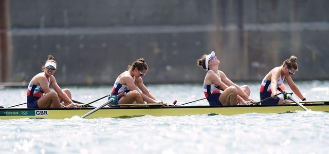 Great Britain's women's four react to missing out on a medal