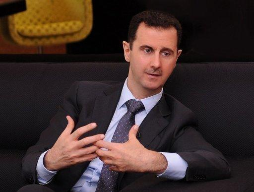 Syrian President Bashar al-Assad said outside intervention was responsible for the conflict in his country