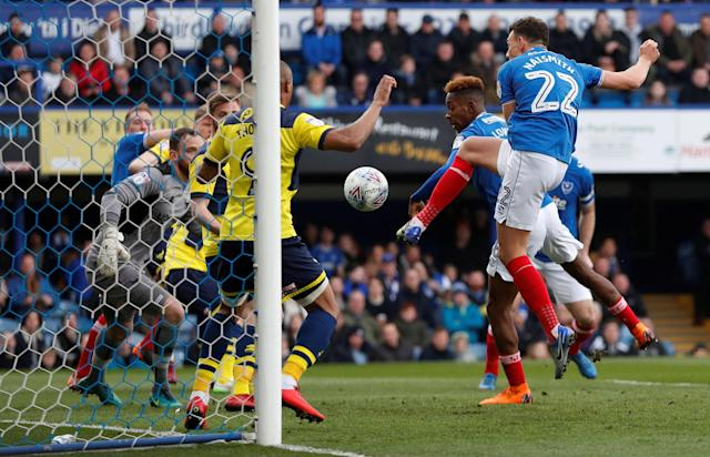 "Soccer Football - League One - Portsmouth vs Oxford United - Fratton Park, Portsmouth, Britain - March 25, 2018 Portsmouth's Kal Naismith scores their first goal Action Images/Peter Cziborra EDITORIAL USE ONLY. No use with unauthorized audio, video, data, fixture lists, club/league logos or ""live"" services. Online in-match use limited to 75 images, no video emulation. No use in betting, games or single club/league/player publications. Please contact your account representative for further details."