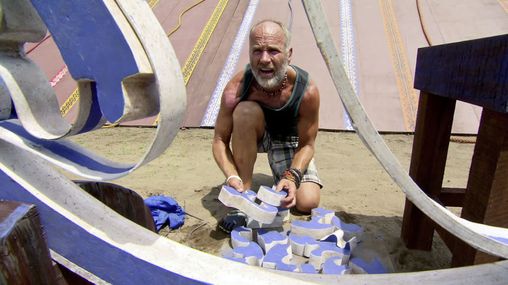 """Million Dollar Question"" - Michael Skupin competes during the season finale of ""Survivor: Philippines."""