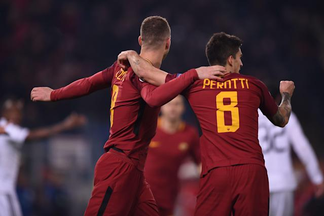 "<a class=""link rapid-noclick-resp"" href=""/soccer/players/diego-perotti/"" data-ylk=""slk:Diego Perotti"">Diego Perotti</a> and Edin Dzeko celebrate Perotti's goal against FK Qarabag that sealed Roma's knockout round place. (Getty)"