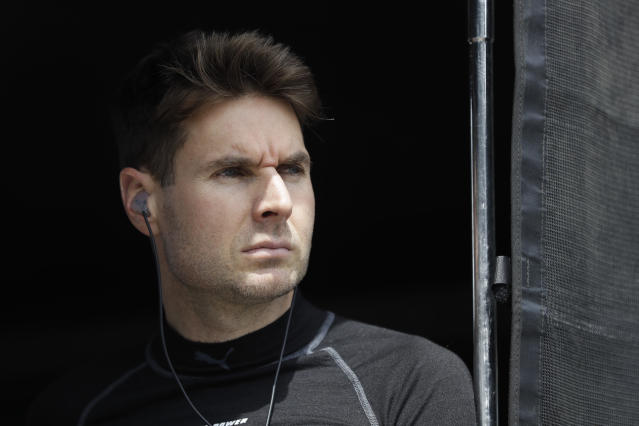 Will Power, of Australia, watches from his pit box during practice for the Indianapolis 500 IndyCar auto race at Indianapolis Motor Speedway, Tuesday, May 14, 2019, in Indianapolis. (AP Photo/Darron Cummings)