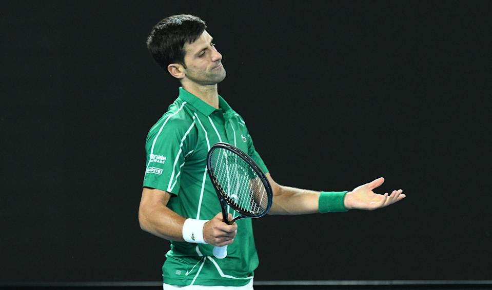 Novak Djokovic frustrated after a point at the Australian Open.