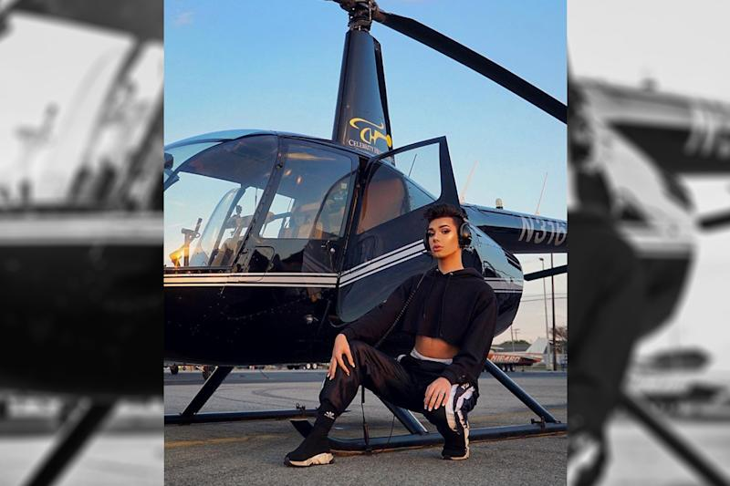 Beauty vlogger James Charles did a full face of makeup while flying in a helicopter over Los Angeles. (Photo: Instagram/jamescharles)