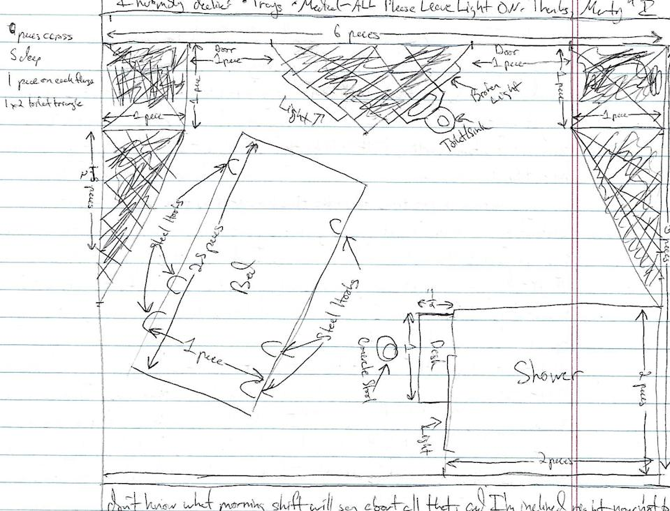 A sketch of the cell layout in the MCC 10-South Unit made by Marty Gottesfeld during his time at the MCC. (Photo: courtesy of Dana Gottesfeld)