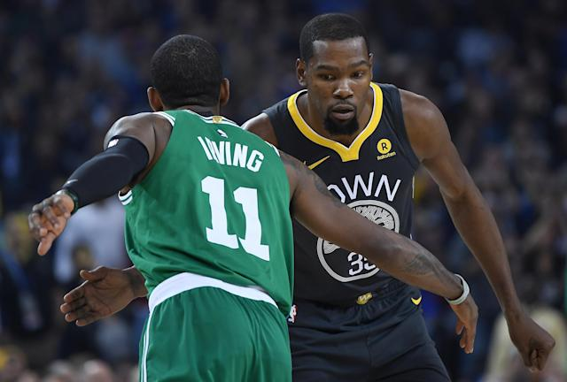 Kyrie Irving and Kevin Durant will join forces on the Brooklyn Nets. (Getty Images)