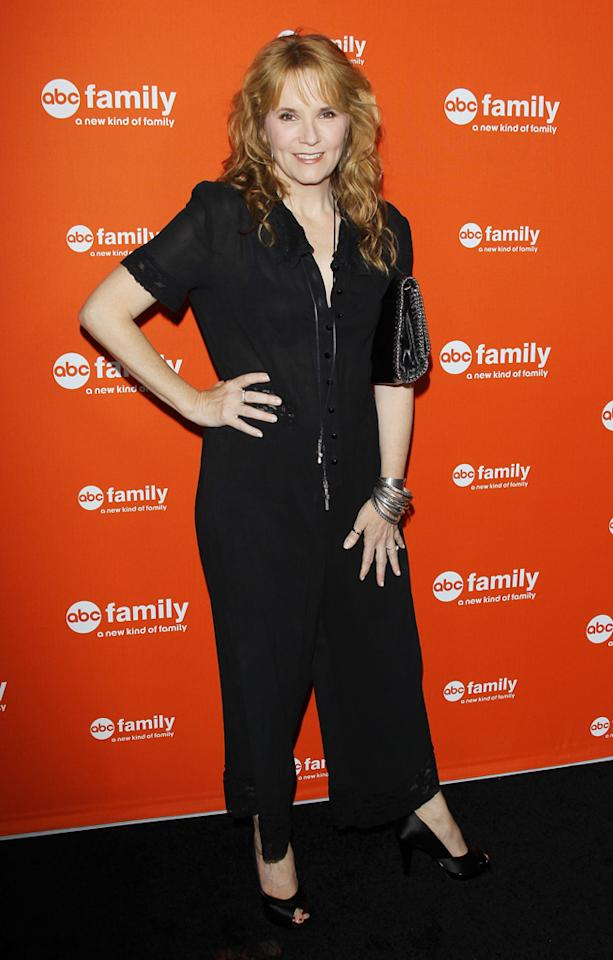 "Lea Thompson (""Switched at Birth"") arrives at ABC Family's West Coast Upfronts at The Sayers Club on May 1, 2012 in Hollywood, California."
