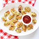 <p>Not one, not two, but three cheeses make these low-carb cheesy zucchini tots live up to their name. Bake them in the oven or fry them in your air fryer for a crisp exterior and a gooey, melted center. Don't use pre-shredded cheese here; shred it fresh for the best and creamiest results. Serve with ketchup, marinara, ranch or your favorite dipping sauce.</p>