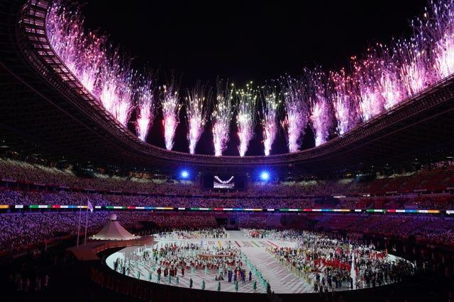 Fireworks during the opening ceremony