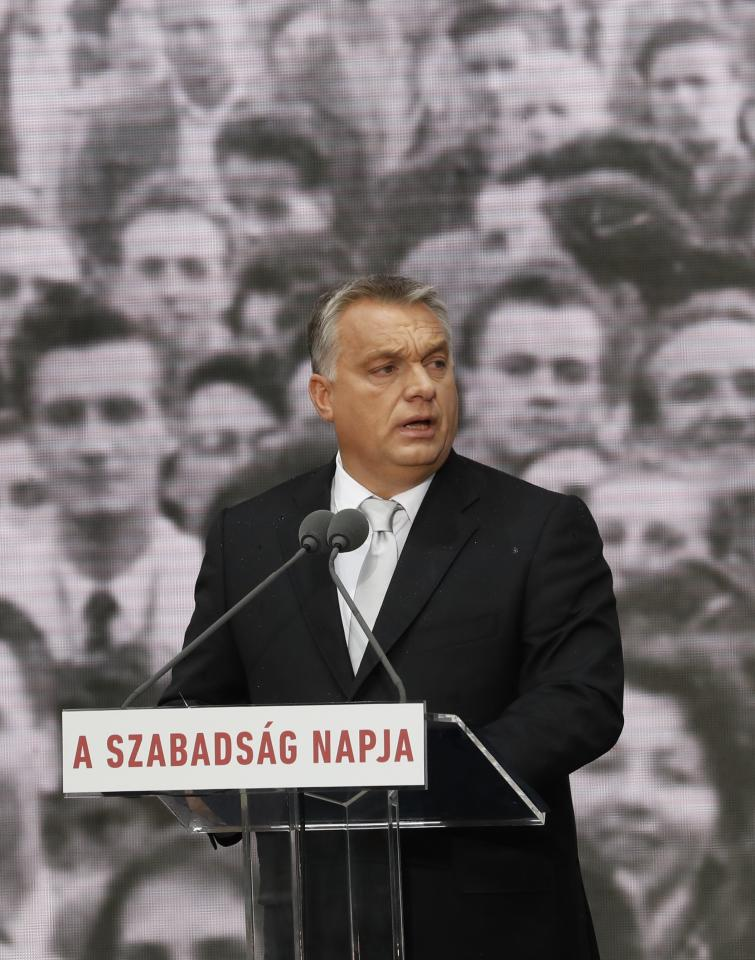 Hungarian Prime Minister Viktor Orban delivers a speech in front of the House of Terror during the celebrations of 61th anniversary of the Hungarian Uprising of 1956, in Budapest, Hungary, October 23, 2017. REUTERS/Laszlo Balogh
