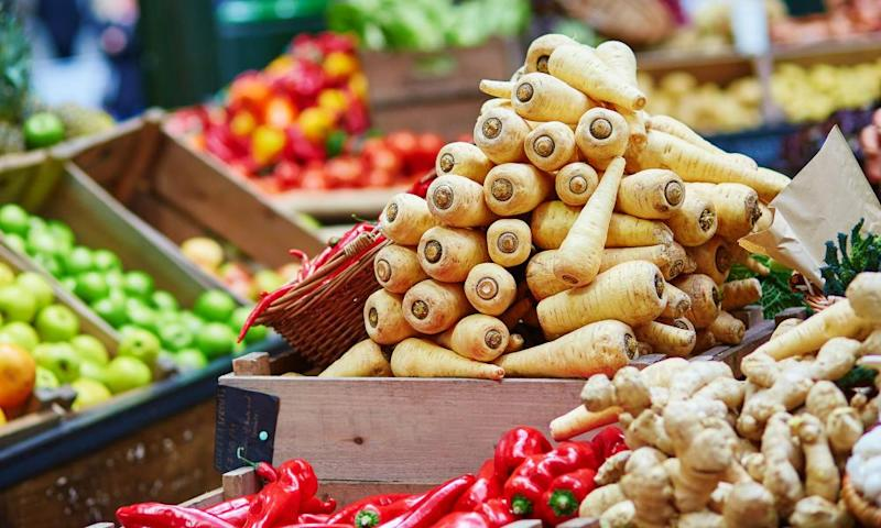 Vegetables on a London market stall