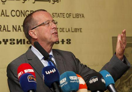 UN Special Representative and Head of the UN Support Mission in Libya, Martin Kobler speaks during a news conference in Tripoli
