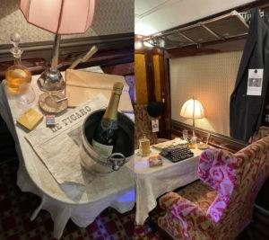 Some of the items laid out on the tables in the Pullman carriage. Photo: Coconuts