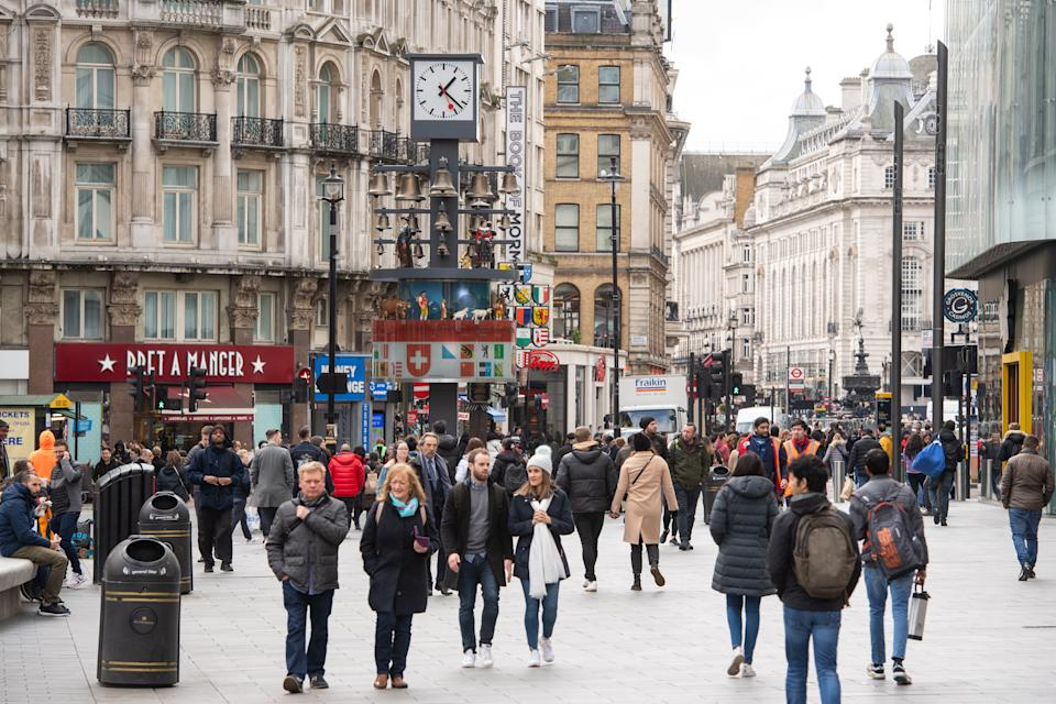 General view of people in Leicester Square, London, as the Government's top scientist warned that up to 10,000 people in the UK are already infected with Covid-19. (Photo by Dominic Lipinski/PA Images via Getty Images)