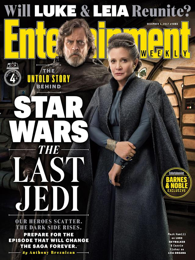 Luke (Mark Hamill) and Leia (Carrie Fisher) reunite on the <em>EW</em> cover (Photo: <i>Entertainment Weekly</i>)