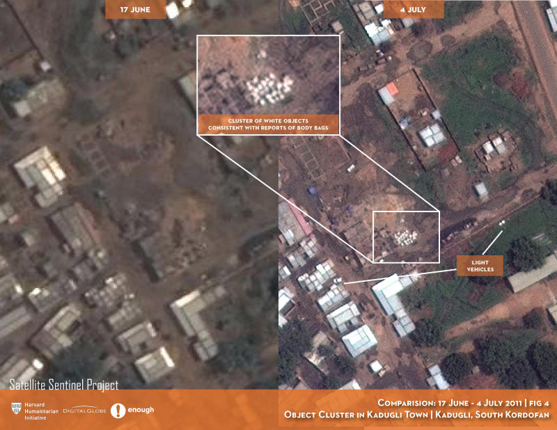 In this Digital Globe satellite images made available by the US monitoring group the Satellite Sentinel Project Thursday July 14 2011 and analyzed by the Harvard Humanitarian Initiative, a  site in  Kadugli town in a sealed-off region of Sudan appears to be a mass grave, offering the first aerial photographs from a conflict zone that outside observers can't access. The group said it had photographic evidence and witness testimony indicating that systematic killings and mass burials are taking place in Southern Kordofan state, where Sudan's Arab military has been targeting a black ethnic minority loyal to the military of the newly independent Republic of South Sudan. Text and graphics applied to images by the source. (AP Photo/DigitalGlobe) EDITORIAL USE ONLY NO SALES