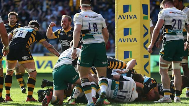 Matt Mullan's converted try beyond the 80th minute helped Wasps to a 32-30 Premiership victory over Northampton Saints on Sunday.