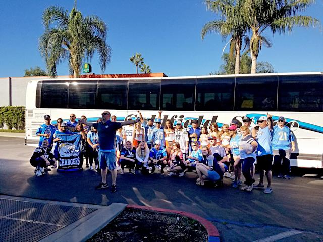 Around 50 Chargers fans made the trek from San Diego to L.A. to watch their team beat the Denver Broncos. (Yahoo Sports)