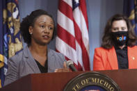 FILE- In a July 28, 2020 file photo, provided by the Michigan Office of the Governor, Dr. Joneigh Khaldun, the state's chief medical executive, addresses the state during a speech in Lansing, Mich. Dr. Khaldun, Michigan's chief medical executive and a top pandemic adviser to Gov. Gretchen Whitmer, is leaving state government for a new job. (Michigan Office of the Governor via AP, File)