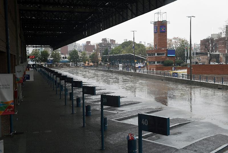 The main bus station of Montevideo stands empty during the country's first full-day general strike in seven years, August 6, 2015