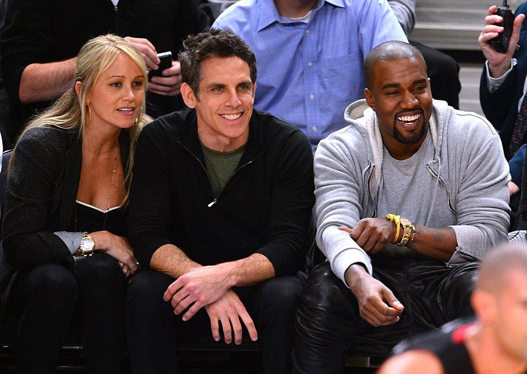 """<p class=""""MsoNormal"""">Ben Stiller and his wife, Christine Taylor, cheered on the New York Knicks courtside along with Kanye West on Thursday. If only Kim Kardashian had been there, it could have been a double date! Though the reality star didn't show up, before the game, Kanye chatted up Kim's BFF, La La Vazquez, who was there cheering on her hubby, Carmelo Anthony. All the celeb support didn't help, however, as the New York Knicks lost the playoff game to the Miami Heat 87-70. (5/4/2012)</p>"""