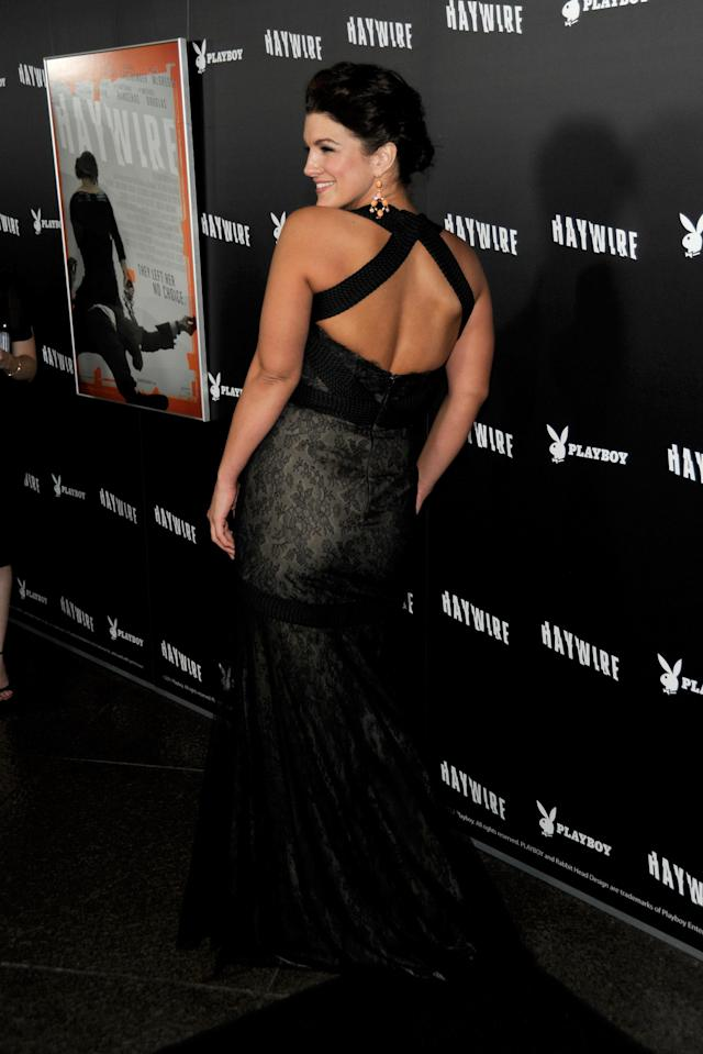 """LOS ANGELES, CA - JANUARY 05: Actress Gina Carano arrives at Relativity Media's premiere of """"Haywire"""" co-hosted by Playboy held at DGA Theater on January 5, 2012 in Los Angeles, California. (Photo by Frazer Harrison/Getty Images for Relativity Media)"""